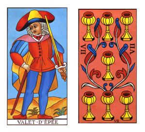 Tarot Page of Swords and Seven of Cups combination